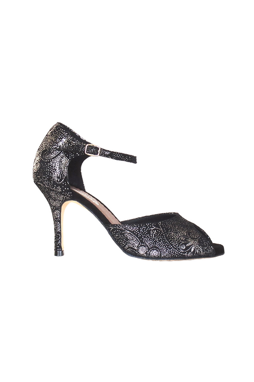 Tango Sandals Flora, black suede with silver pattern and silver leather