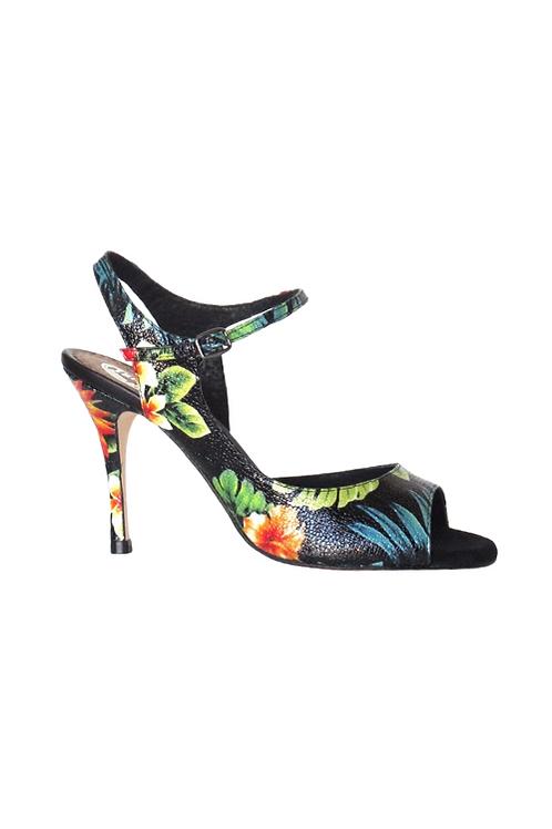Black tango sandal with flower pattern