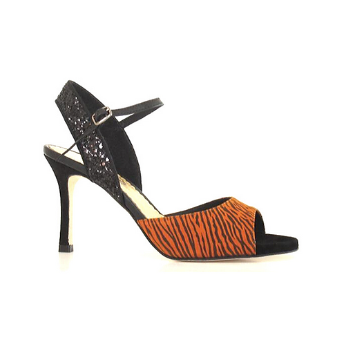 Tango Sandals Eliana, orange/black suede, black glitter, black leather