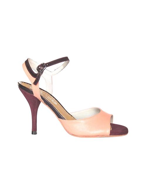 Tango Sandals Lorena, pink leather, burgundi suede and burgundi patent leather