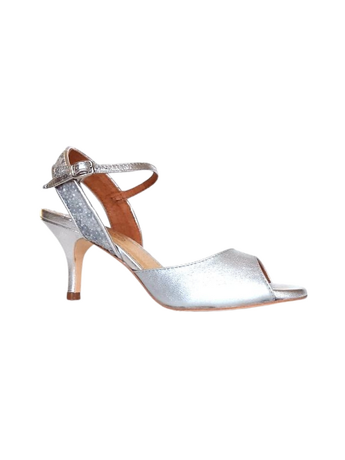Tango Sandals Julieta, silver leather and gray glitter