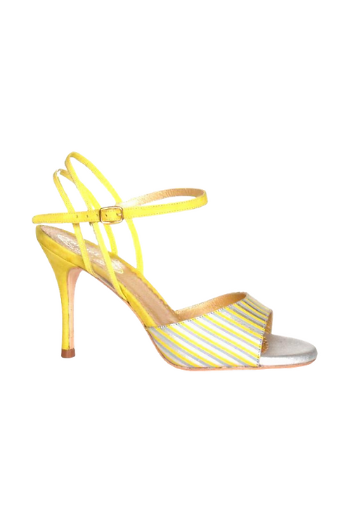 Tango Sandals Pepa, leather with stripes, PVC, yellow suede & silver leather