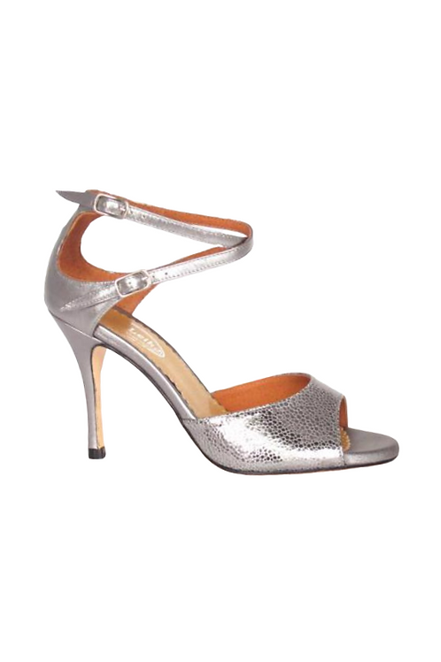 Tango Sandals Olga, pewter caviar and pewter  leather