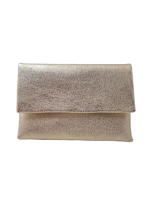 Leather clutch in platin color