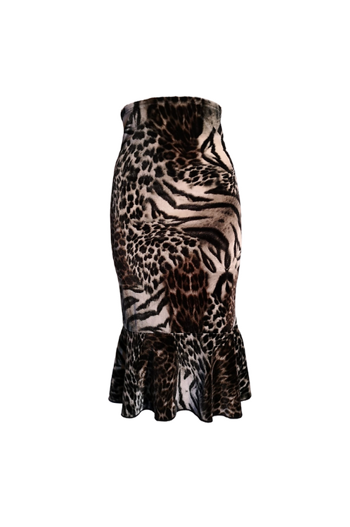 Skirt Romantica with animal print