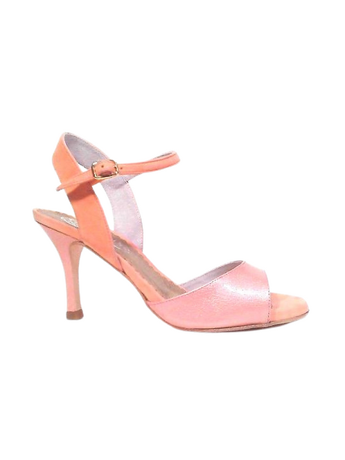 Tango Sandals Marisol, old pink patent leather and tan suede