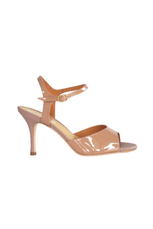 Tango Sandals Grace, nude patent leather and nude leather