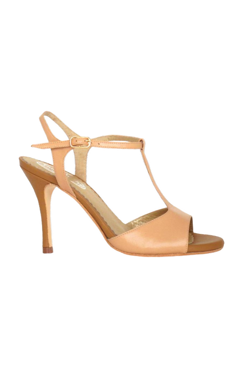 Tango Sandals Vanina, nude leather and beige leather