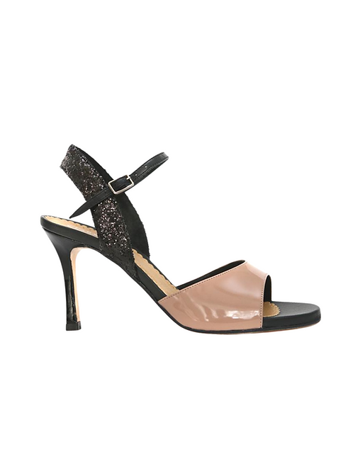 Tango Sandals Pepa, beige patent leather and black/beige lace