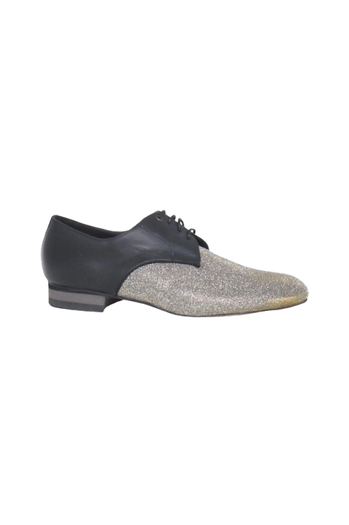 Men's tango shoes Tanguero, gold/silver iridescent lurex & black nappa leather