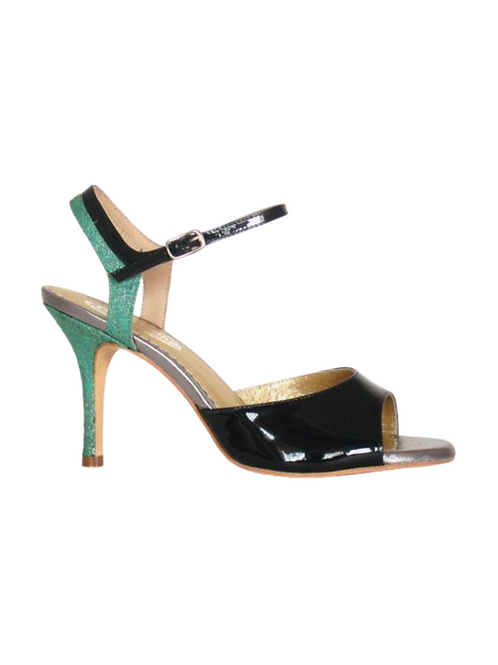 Tango Sandals Lorena, Green patent leather and Green leather with pattern