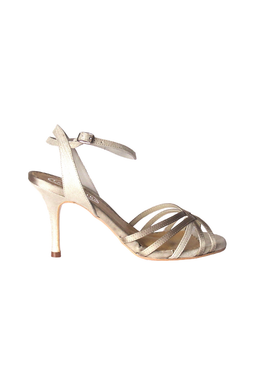 Tango Sandals Lucía, taupe satin and silver suede with pattern