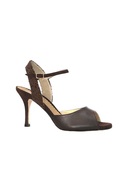 Tango Sandals Silvina, tan leather, tan glitter and tan suede