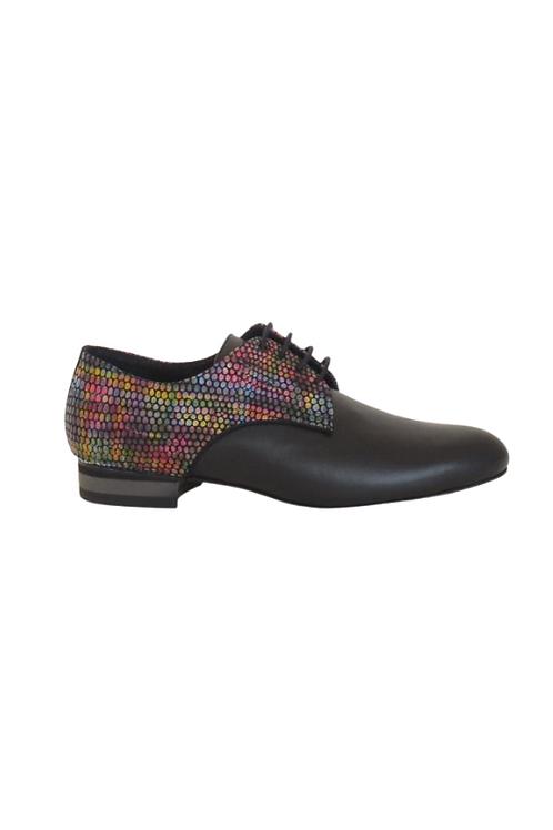 Men's tango shoes Tanguero, black leather & multicolor leather caviar pattern
