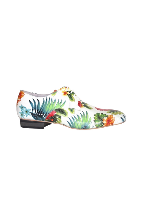 Men's tango shoes Andrés, white jungle leather