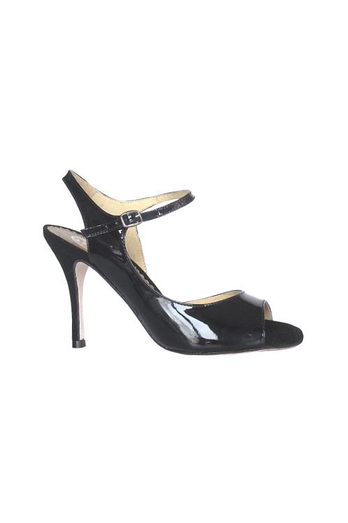 Tango Sandals Tita, black patent leather and black suede
