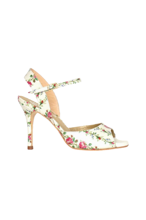 Tango Sandals Silvina, beige leather with flowers
