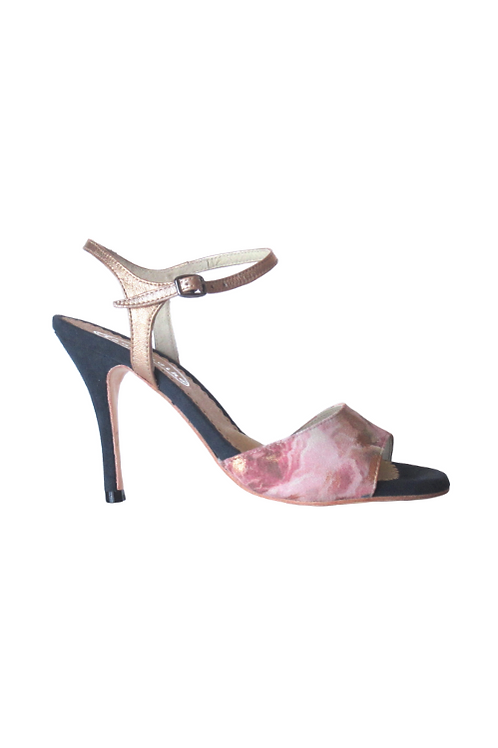 Tango Sandals Soledad, flowered suede, copper leather and gray suede