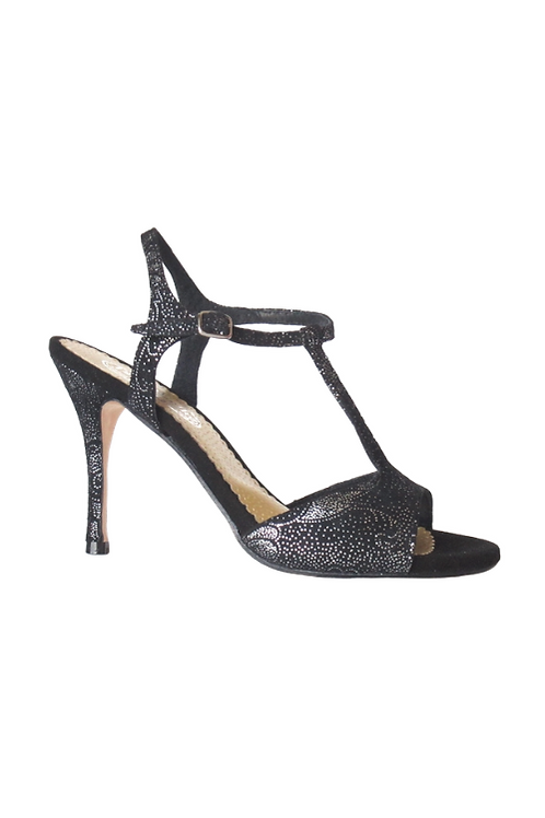 Tango Sandals Vanina, black suede with silver pattern and black suede