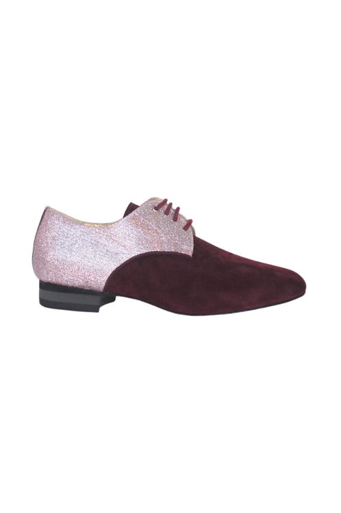 Men's tango shoes Tanguero, burgundi suede and Pink lurex