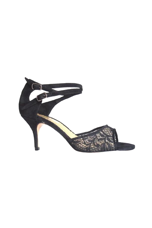 Tango Sandals - Gricel - clear net with black  lace  and black  suede