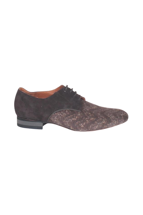 Men's tango shoes Tanguero, tan suede with black pattern and dark brown suede