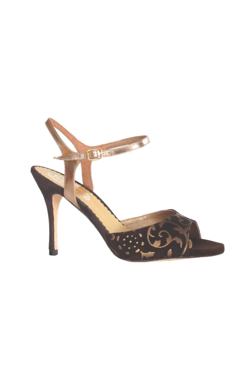 Tango Sandals Grace, tan suede with bronze pattern, bronze laminated leather