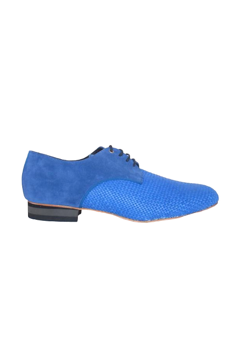 Men's tango shoes Fernando,  light-blue braided leather and blue suede
