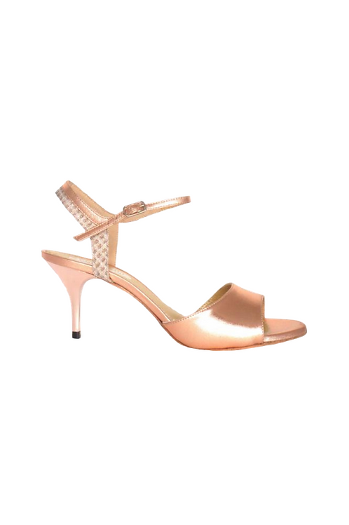 Tango Sandals María, copper leather and old pink lurex