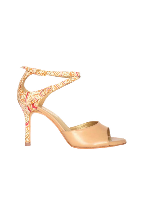 Tango Sandals Olga, nude leather and nude suede with pattern