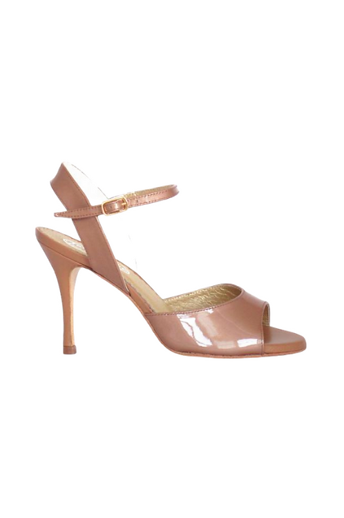 Tango Sandals Marisol, nude patent leather and nude leather
