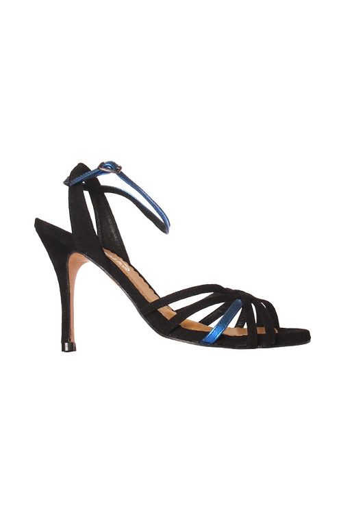 Tango Sandals Lucía, black suede and royal blue leather