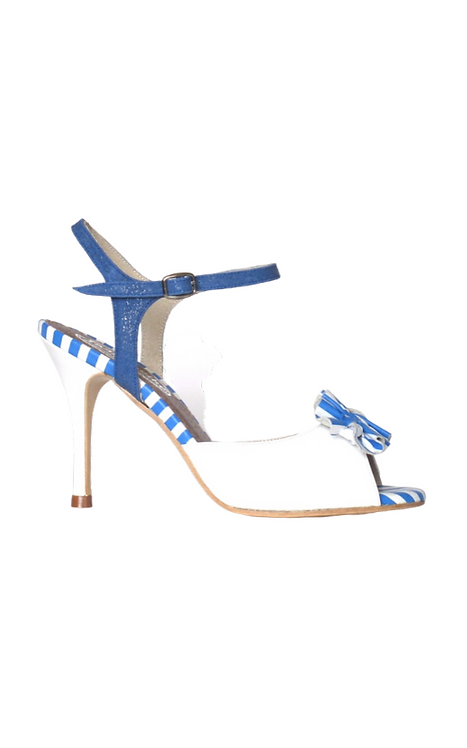 AURORA with FruFru decoration in white and blue leather 19-21a-16 85mm