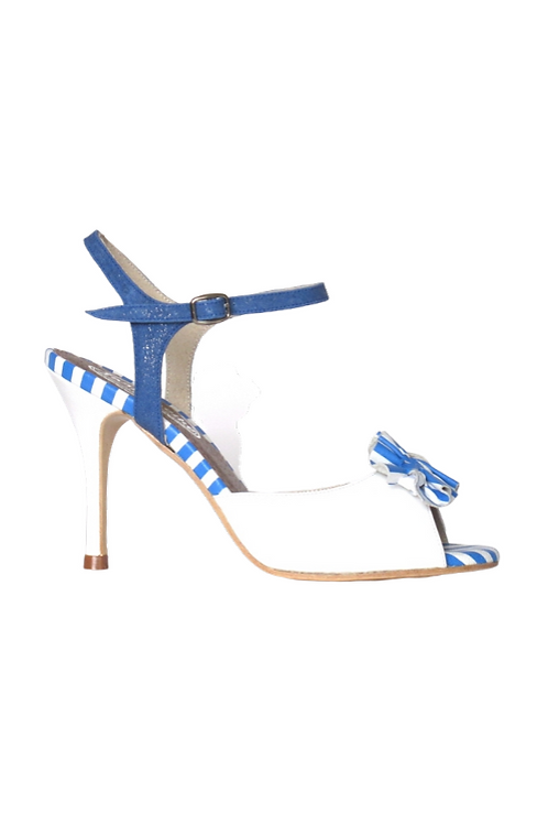 Tango Sandals Aurora, white leather and white and blue leather stripes
