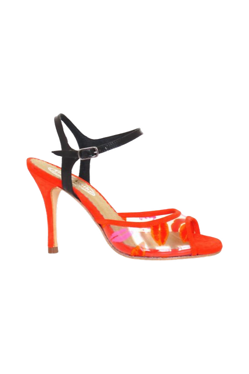Tango Sandals Ivette, PVC with lips, organge suede and black patent leather