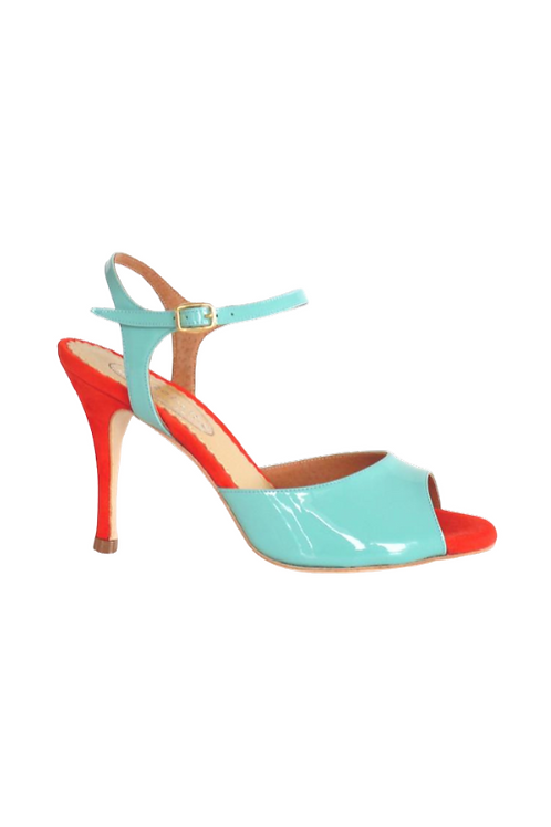 Tango Sandals Aurora, turquoise metalic leather and orange fluo suede