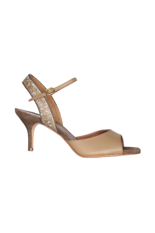 Tango Sandals Eliana, beige leather, beige leather with flowers and tan suede