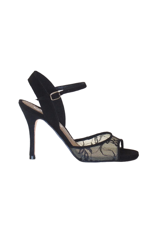 Tango Sandals Lúa, black lace and black suede