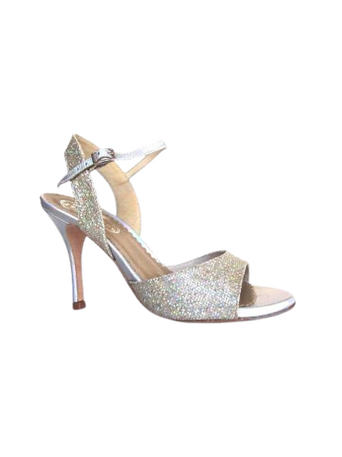 Tango Sandals Pepa, iridescent multicolor glitter & iridescent silver leather