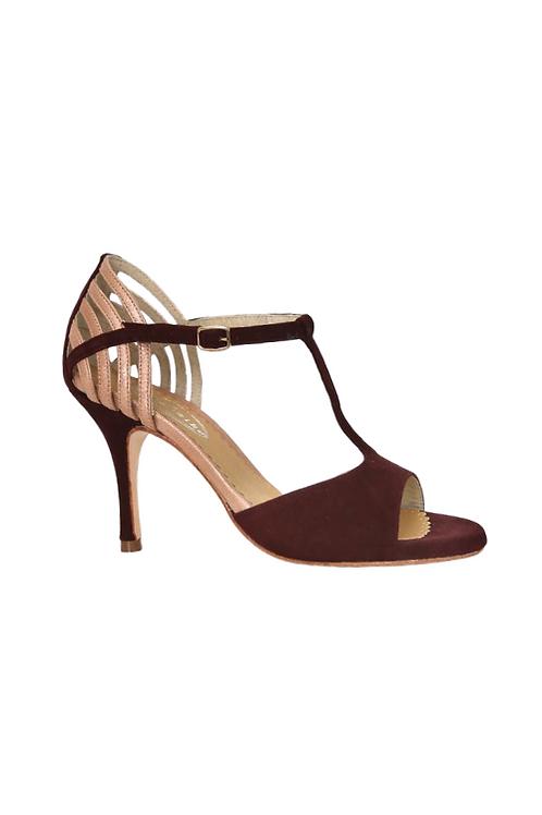 Tango Sandals Luz, burgundi suede and copper metalic leather