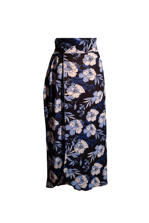 Skirt Moira in black and blue microfibra