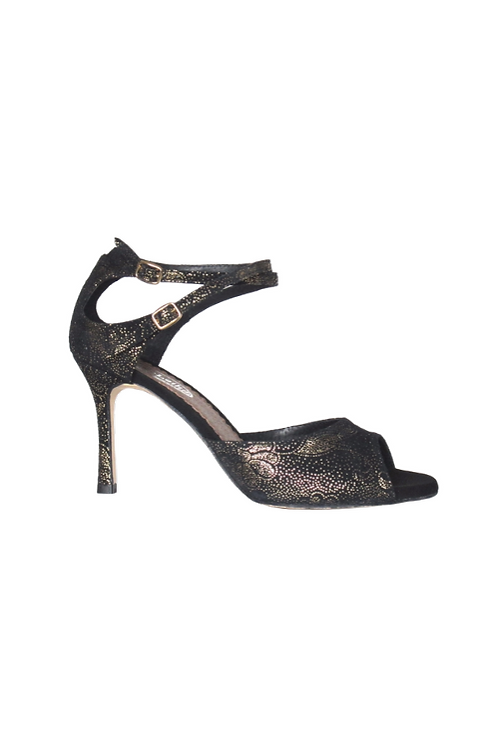 Tango Sandals Malena, black suede with gold pattern and black suede