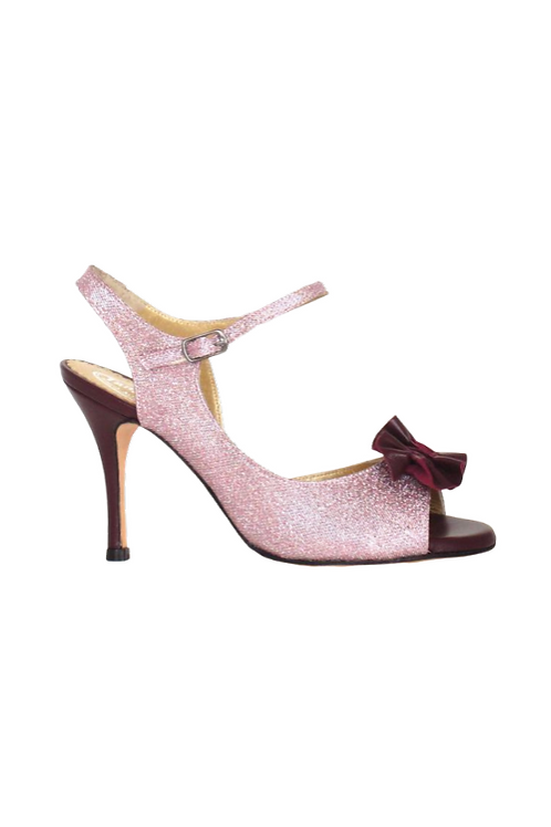 Tango Sandals Tita, Pink lurex and burgundi leather