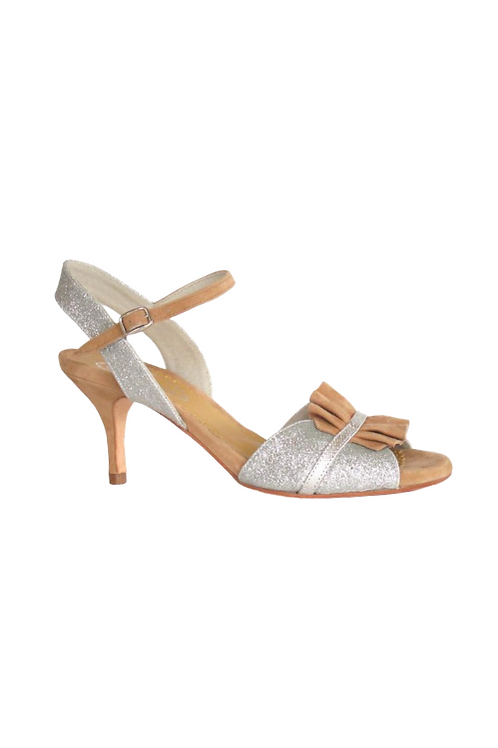 Tango Sandals Griseta, silver fine glitter, beige suede and silver leather