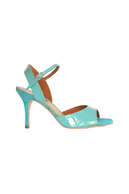 Tango Sandals Marisol, turquoise patent leather and reptile turquoise leather