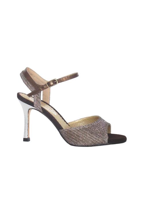 Tango Sandals Lorena, lurex, bronze leather, silver leather & brown suede