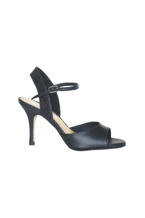Tango Sandals Marisol, black leather and black glitter