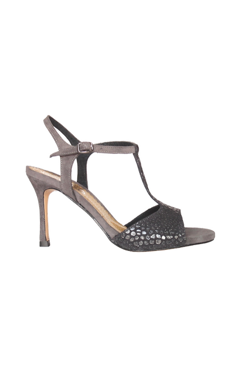 Tango Sandals Vanina, pewter caviar and gray suede
