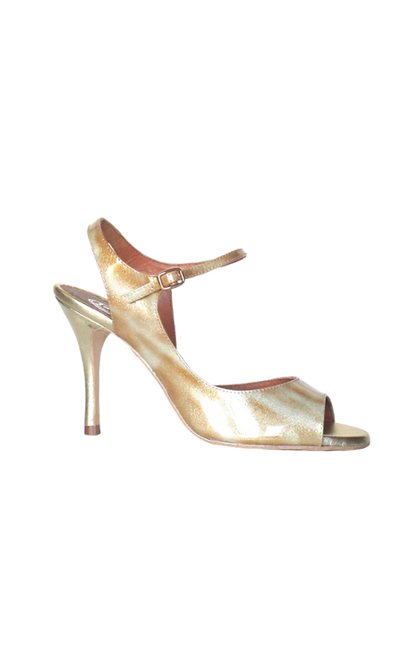 TITA in varnished leather in beige shades with gold glitter  19-56-64 PREorder