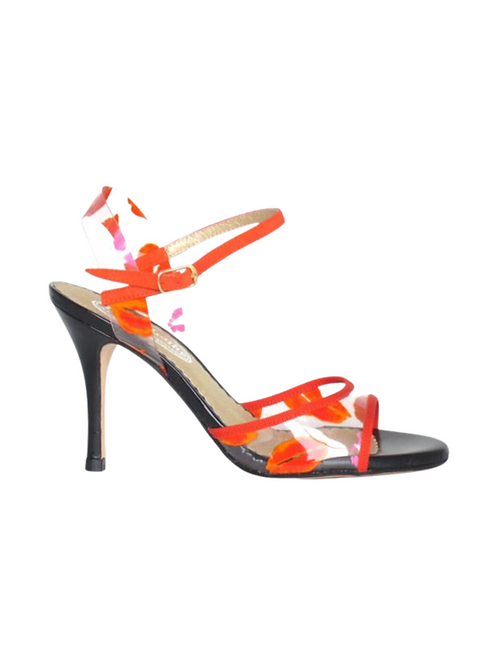 Tango Sandals Madame, PVC, orange grosgrain, black patent leather & black suede